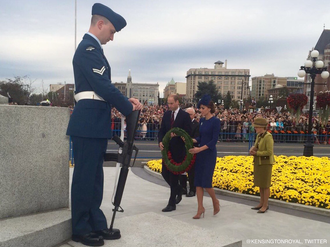 William and Kate lay a wreath in Victoria BC Canada