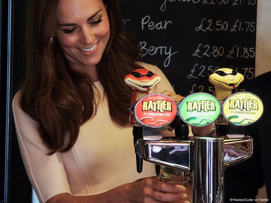 Kate Middleton visiting Healy's Cyder Farm and pulling a pint of Rattler