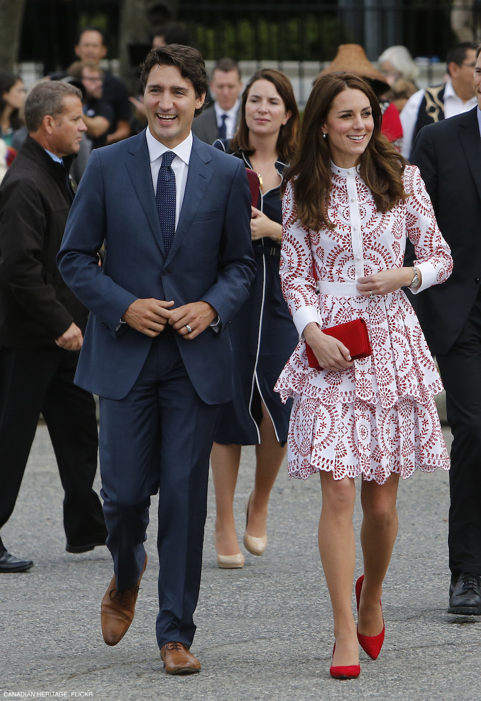 Kate Middleton wearing Alexander McQueen red and white dress in Vancouver
