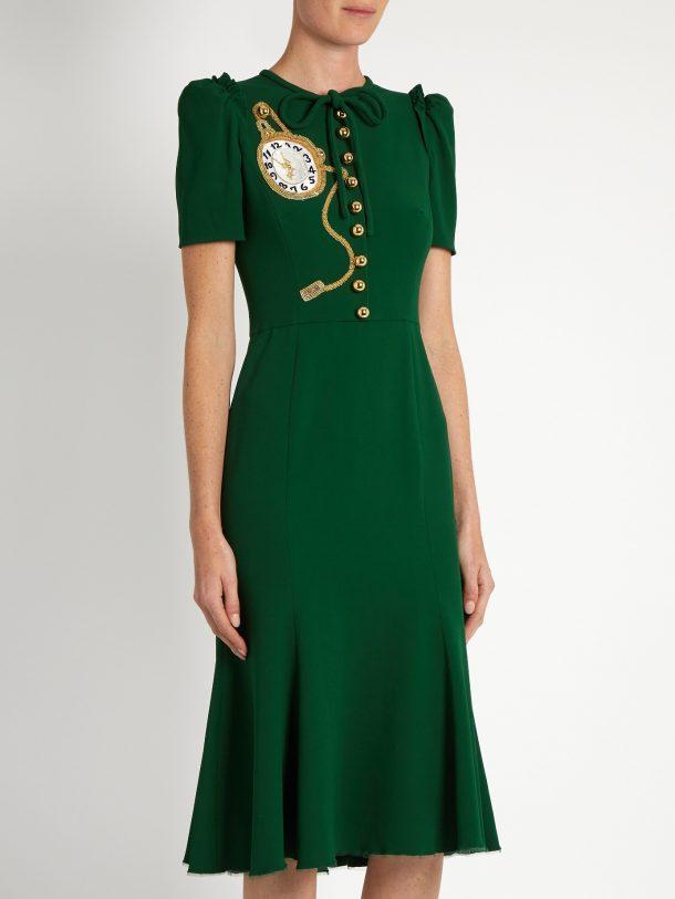 Dolce & Gabbana green midi dress