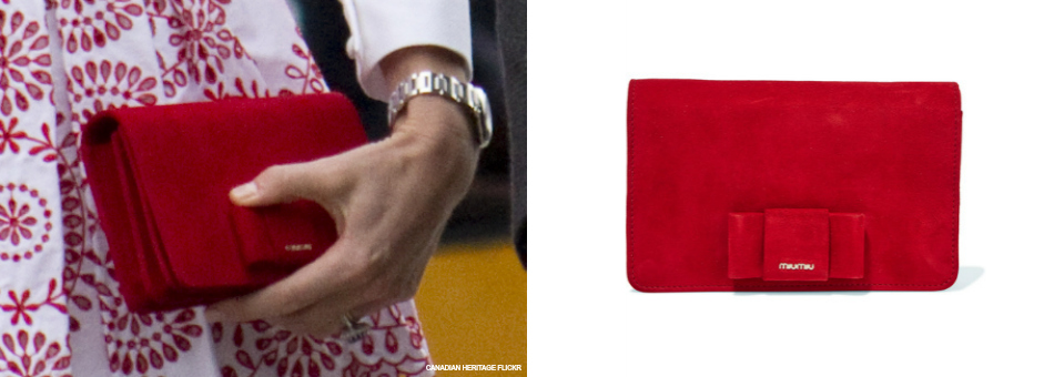 Kate Middleton's red suede Miu Miu bag from Vancouver