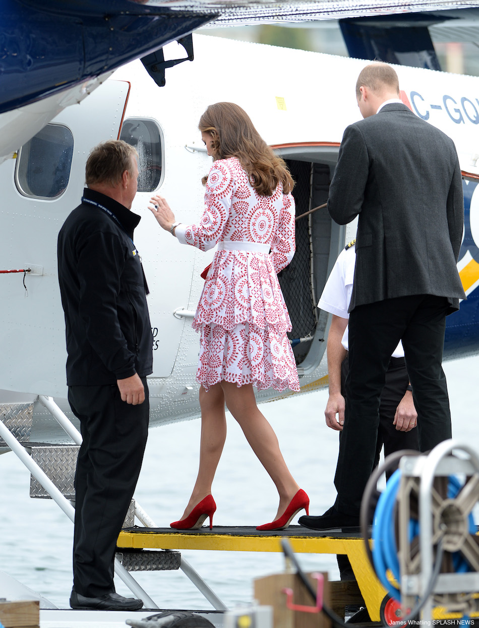William and Kate boarding the seaplane back to Victoria