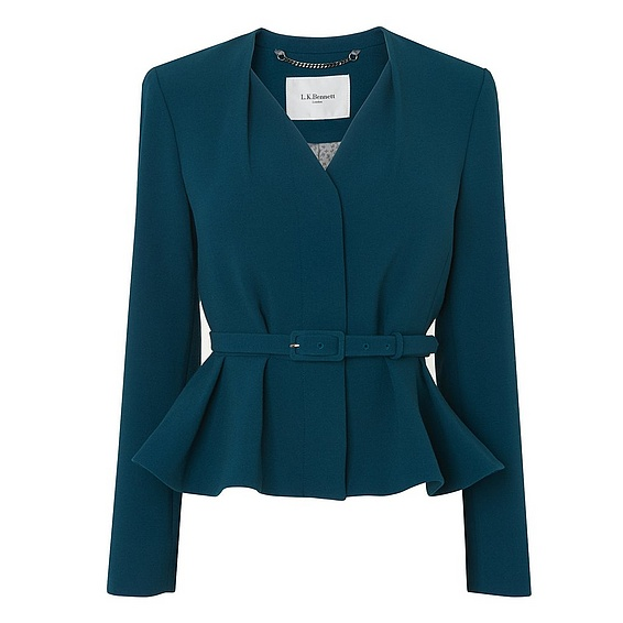 L.K. Bennett Judi peplum jacket in Evergreen