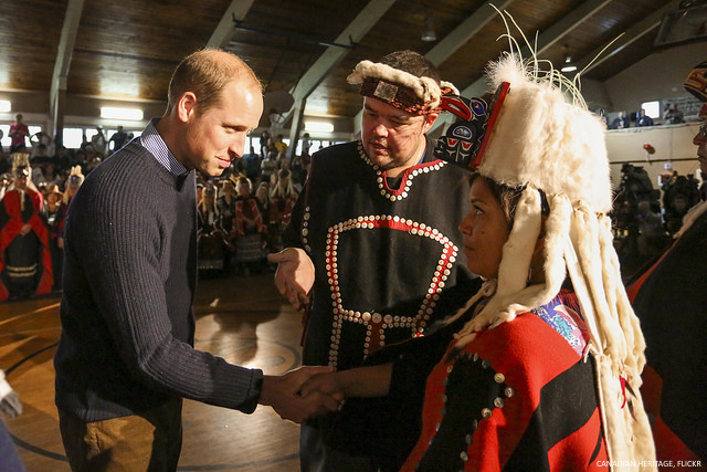 Prince William meeting members of the Heiltsuk First Nations community