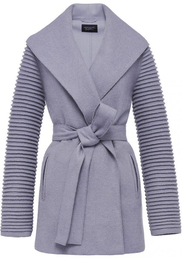 Sentaler Wrap Coat with Ribbed Sleeves