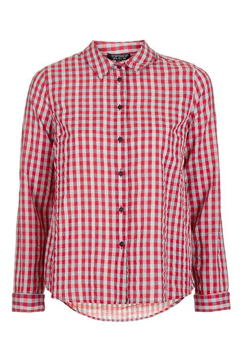 Topshop Check Shirt in red