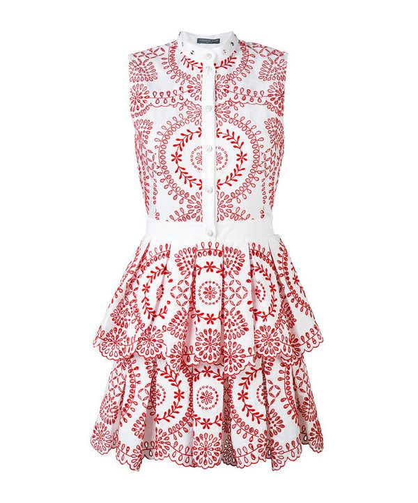 Alexander McQueen Red & White Broderie Anglaise Poplin Dress