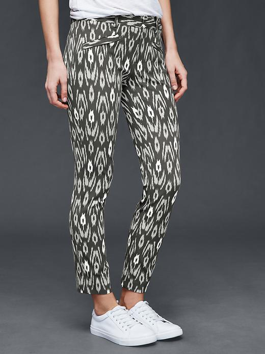 Kate Middleton's trousers in black ikat print