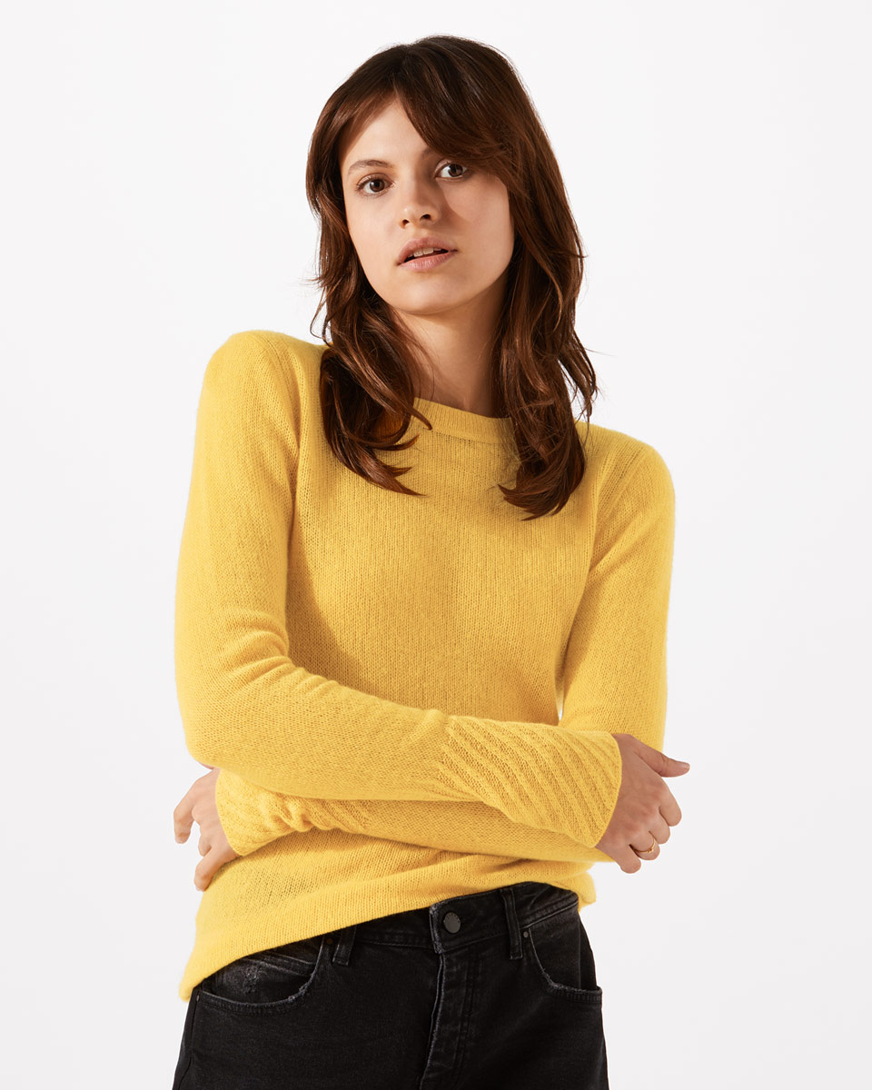 Jigsaw Cloud Cashmere Sweater in Mustard Yellow
