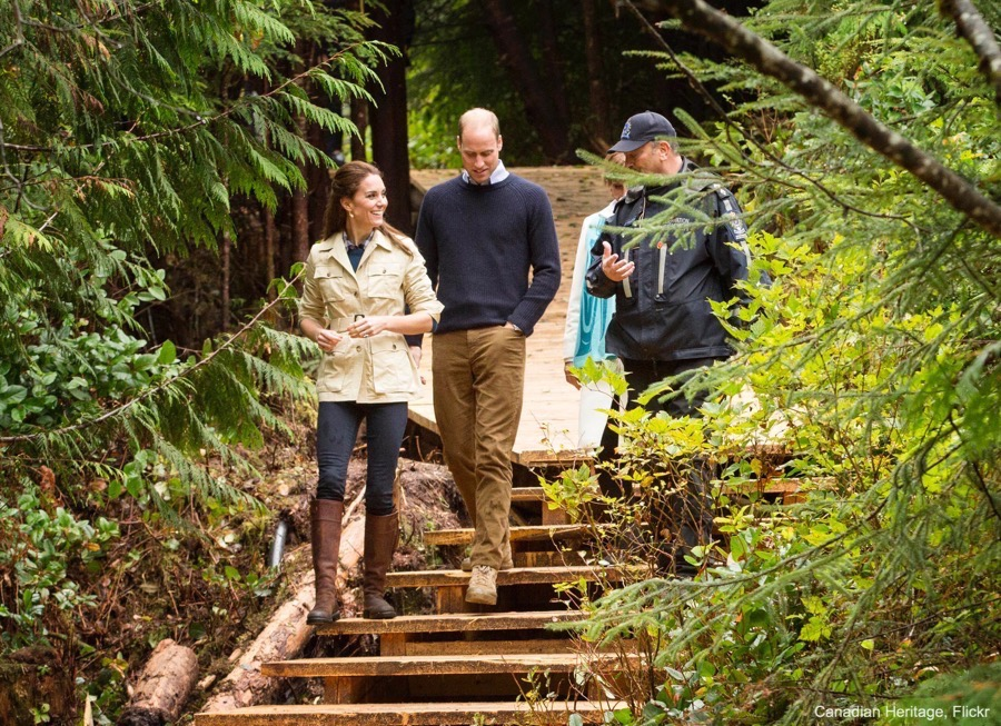Kate Middleton's casual outfit in the Great Bear Rainforest, Bella Bella, Canada