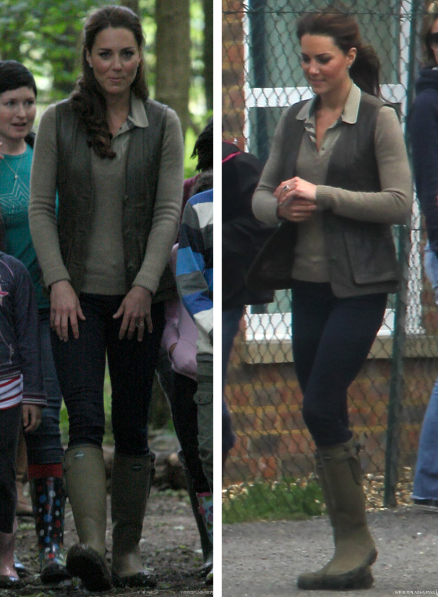 Kate Middleton wearing her Le Chameau wellies during a visit to the Scouts in Kent