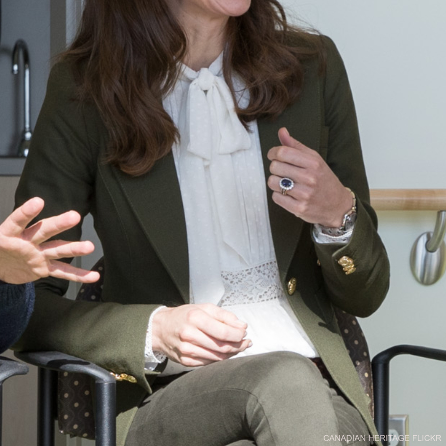 Kate Middleton's white pussybow blouse