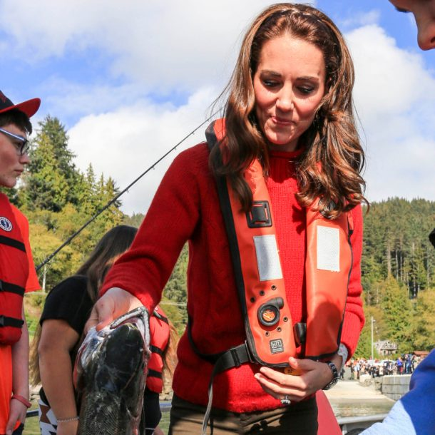 Kate Middleton wearing her red sweater in Haida Gwaii during a fishing trip
