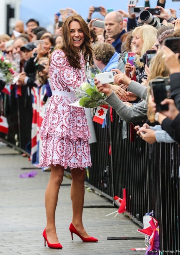 Kate chooses red and white Alexander McQueen dress for visit to Vancouver, Canada