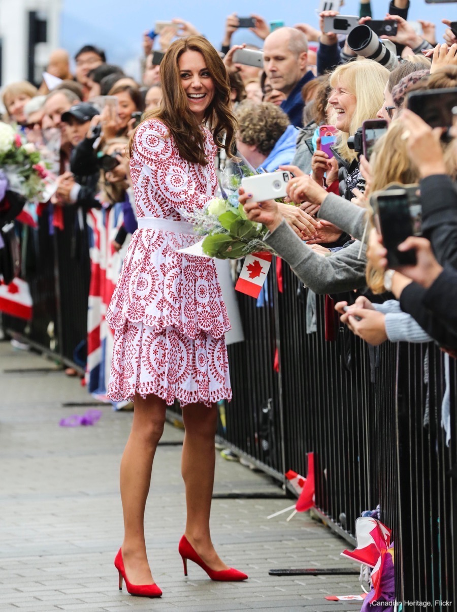 Kate Middleton wearing a white and red Alexander McQueen dress in Vancouver, Canada