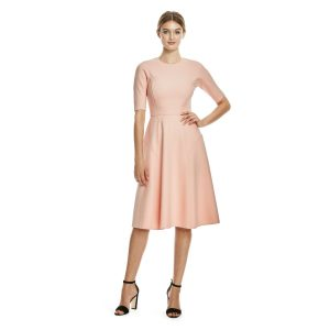 Lela Rose Double Faced Twill Elbow Sleeve dress