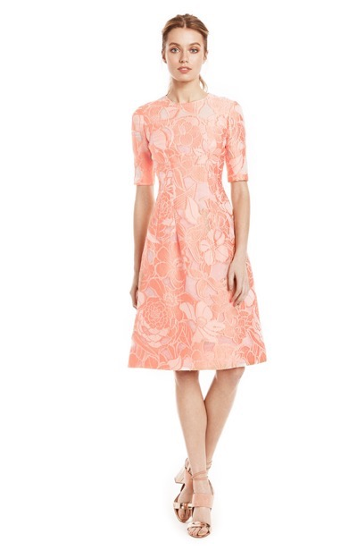 Lela Rose Pink Floral Elbow Sleeve Dress