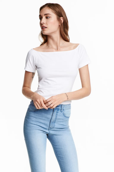 H&M off-the-shoulder top with no ribbing detail in white