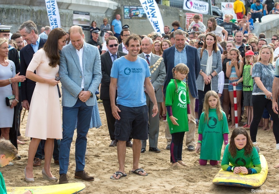 Prince William and Kate Middleton on Towan Beach in Cornwall