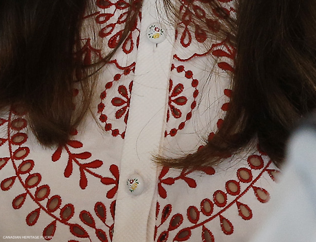Printed Buttons on the Alexander McQueen dress