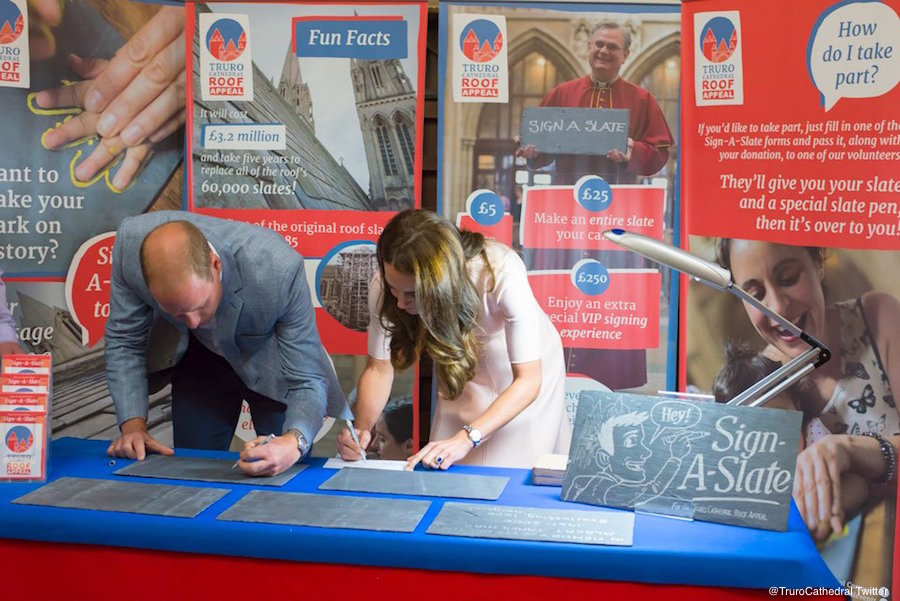 "William and Kate ""Sign a Slate"" at Truro Cathedral"