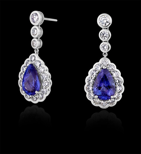 Kate Middleton's blue tanzanite and diamond earrings by G Collins and Sons