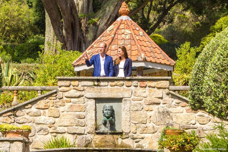 Kate Middleton and Prince William visiting the Abbey Gardens on Tresco, Isles of Scilly