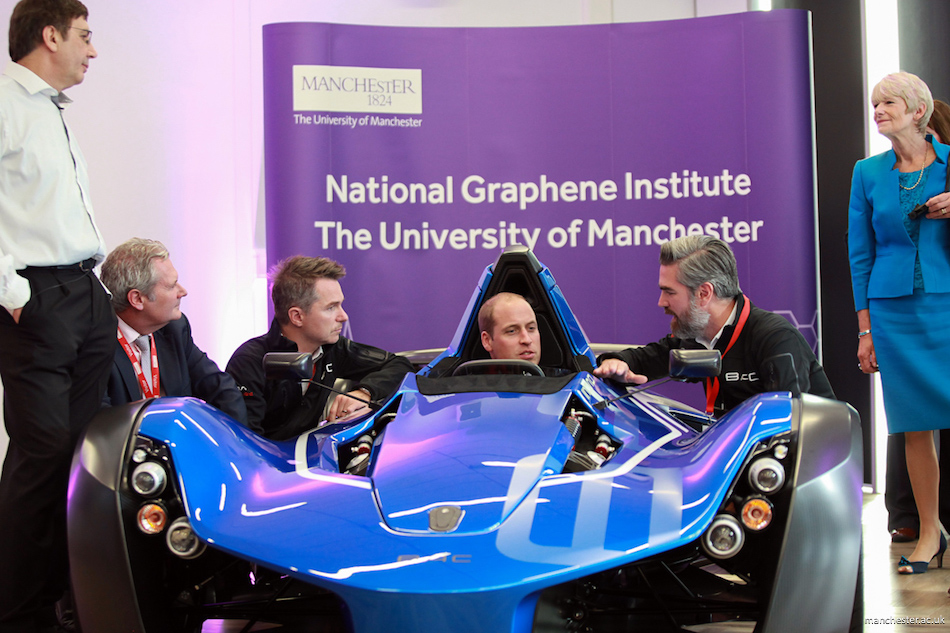 Prince William in the sports car at the university of Manchester
