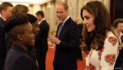 Kate Middleton meeting Nicola Adams at Buckingham Palace reception