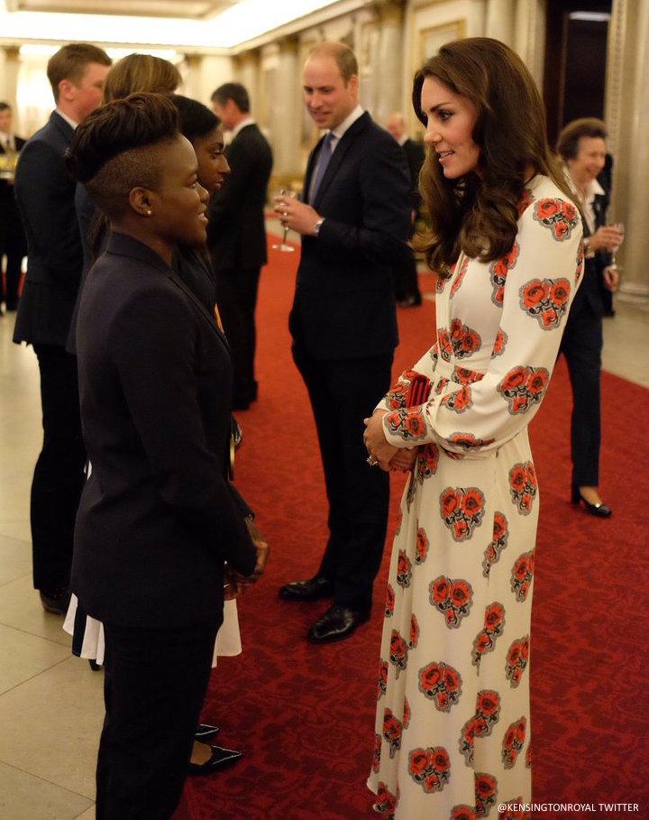 Kate Middleton wearing the Alexander McQueen Poppy Print Dress at Buckingham Palace