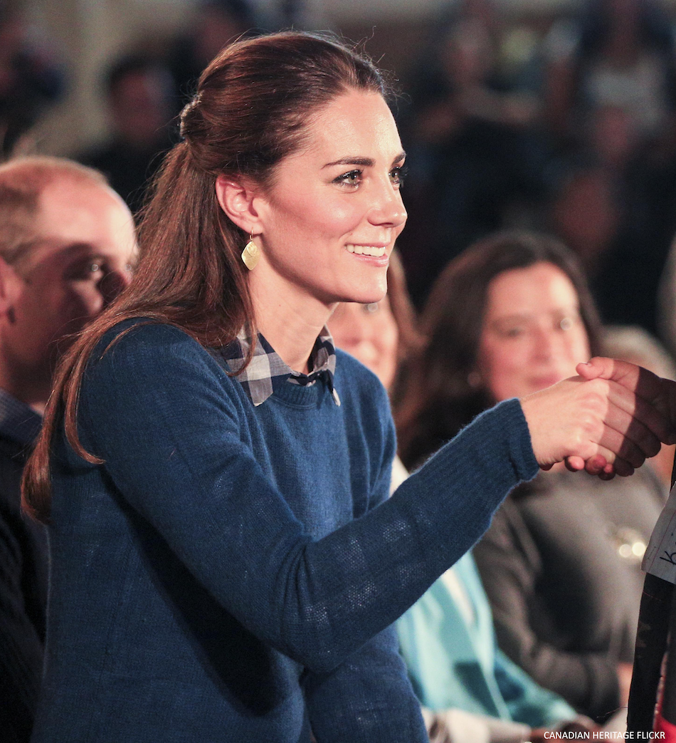 Kate Middleton wearing her blue Jigsaw sweater in Bella Bella