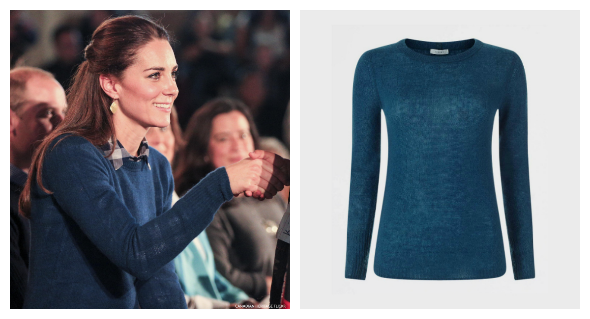 Kate Middleton's blue sweater from Jigsaw, worn in Bella Bella, BC, Canada