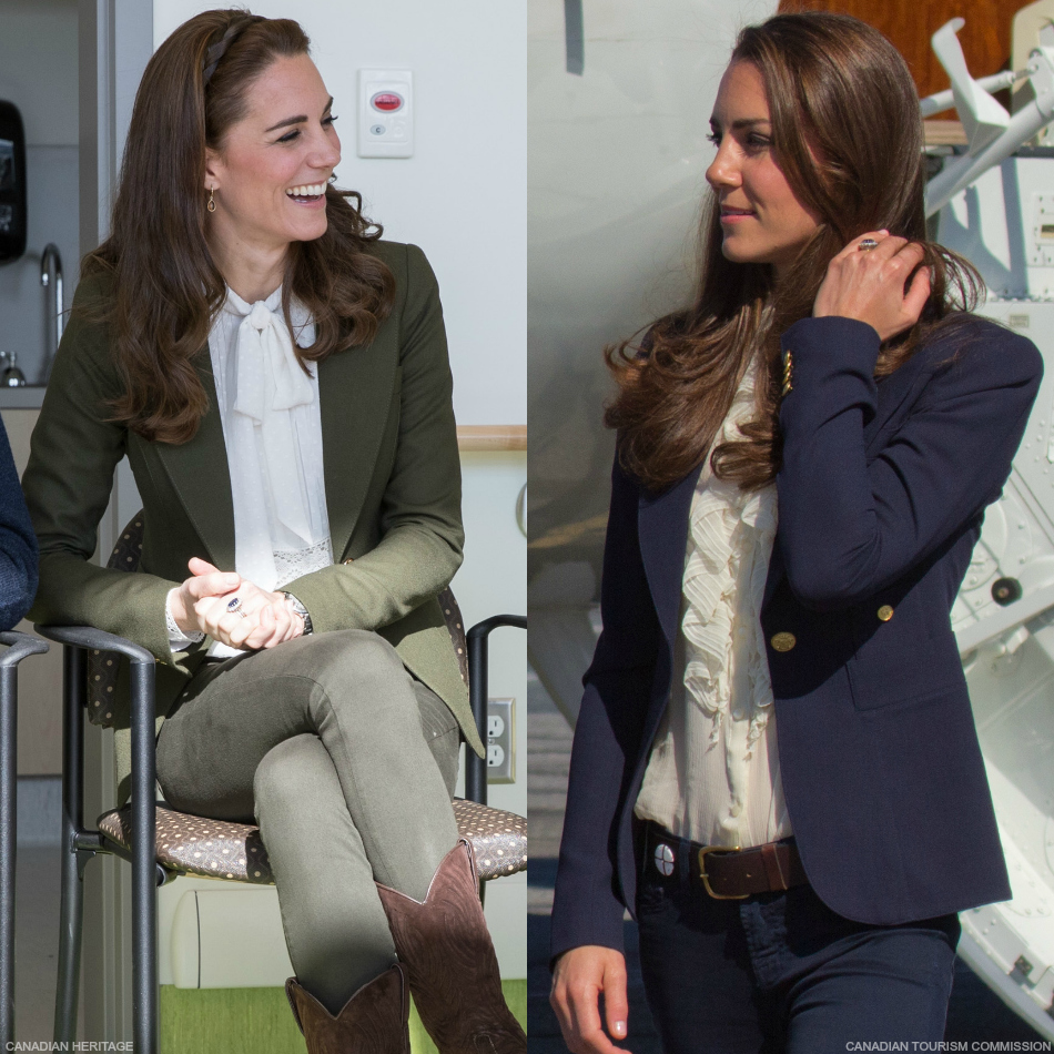 Kate Middleton owns two smythe blazers. One in blue and one in green.