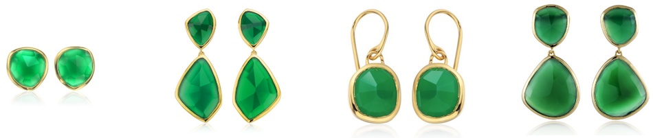 The full collection of Monica Vinader Siren Earrings in Green Onyx