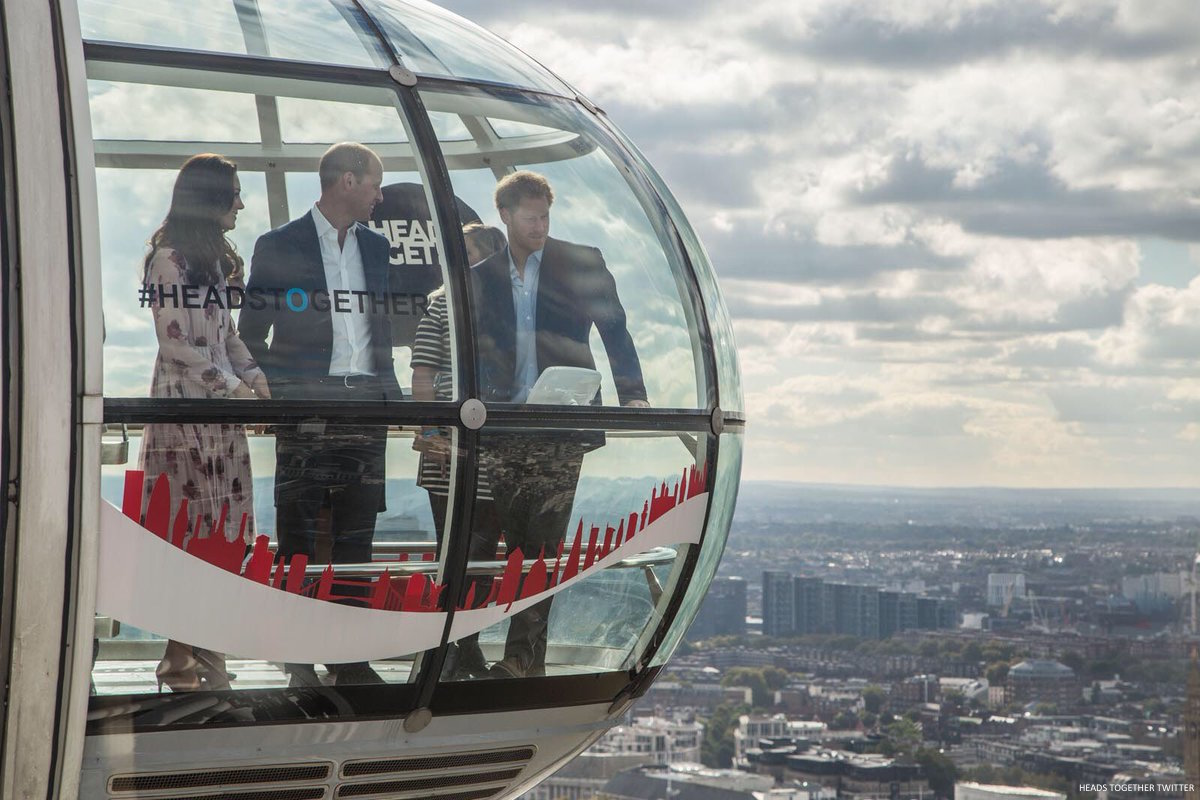 William, Kate and Harry riding the London Eye