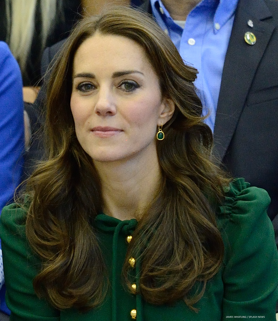 the Duchess of Cambridge wearing Monica Vinader's Siren earrings in gold and green onyx