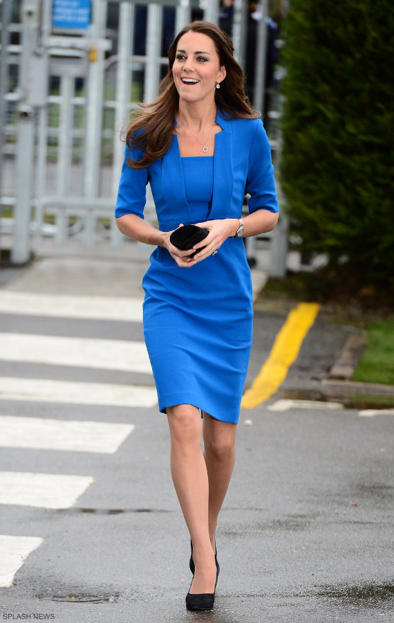 Kate Middleton Wearing Her Blue L K Bennett Detroit Dress