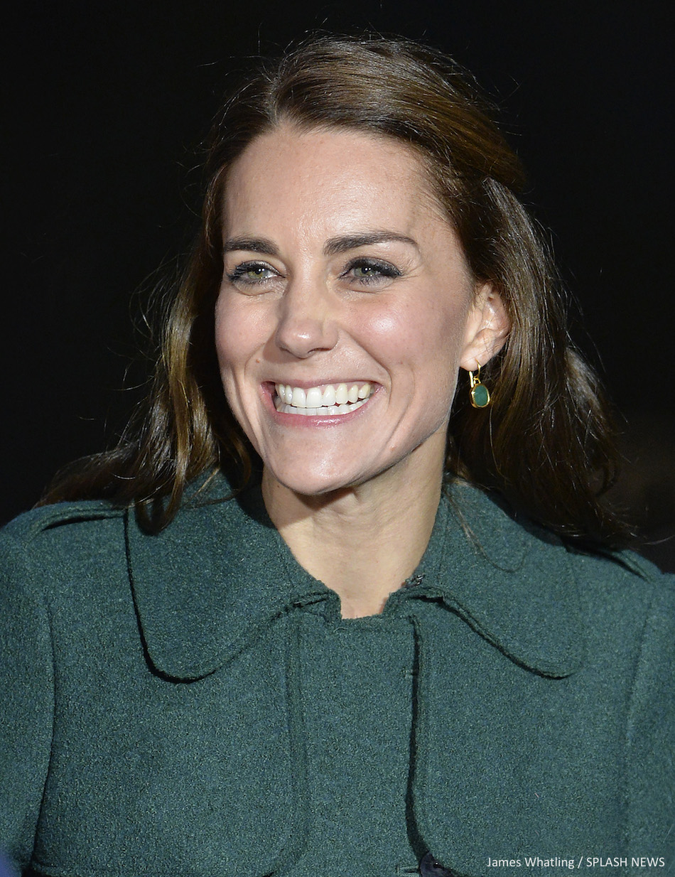 Kate Middleton wearing the Monica Vinader Siren earrings in green and gold