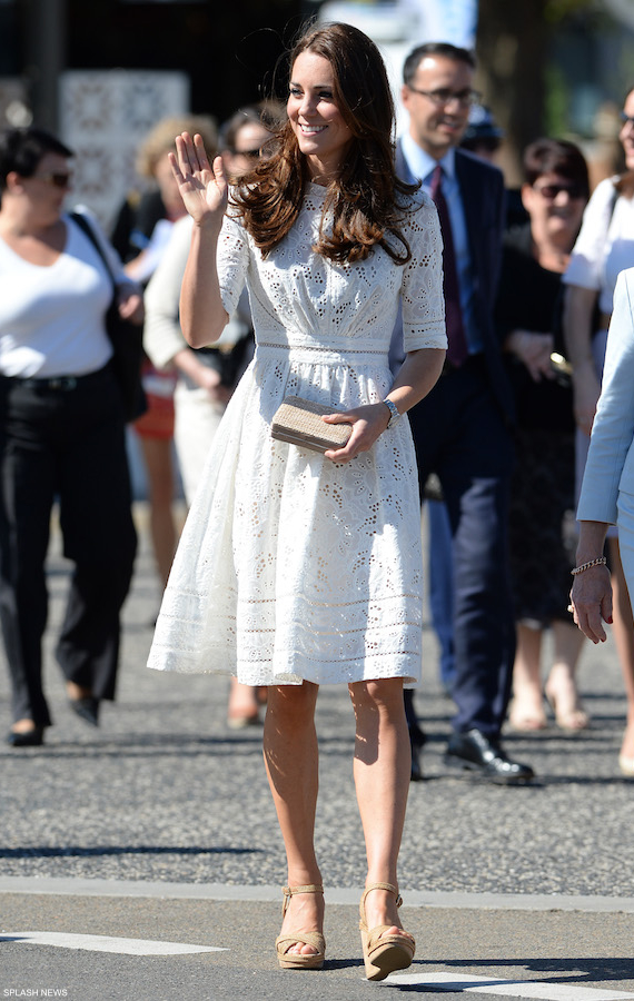 Kate Middleton wearing her white Zimmermann dress in Australia
