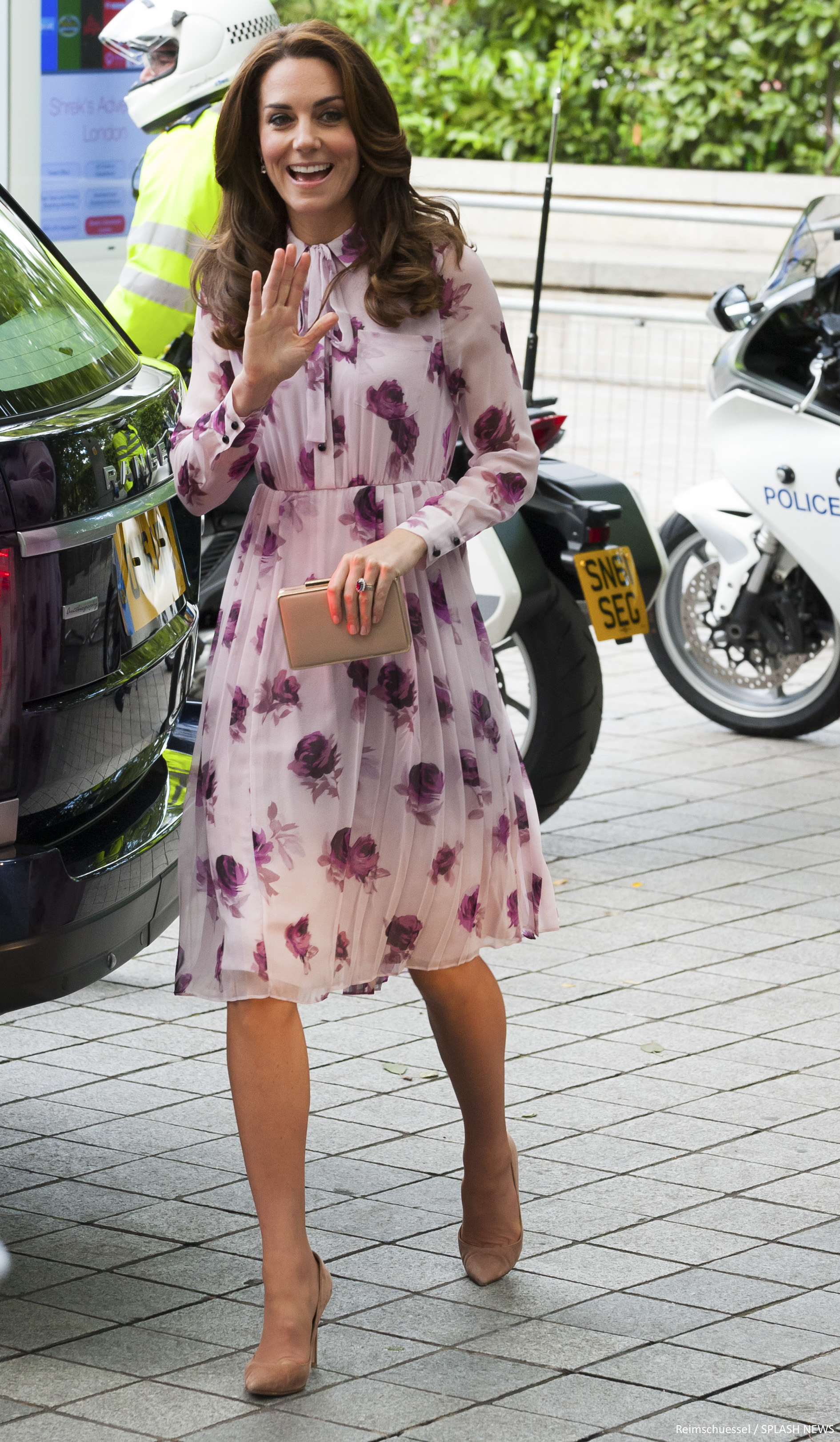 Kate Middleton wearing the Kate Spade Encore Rose Printed Chiffon Dress