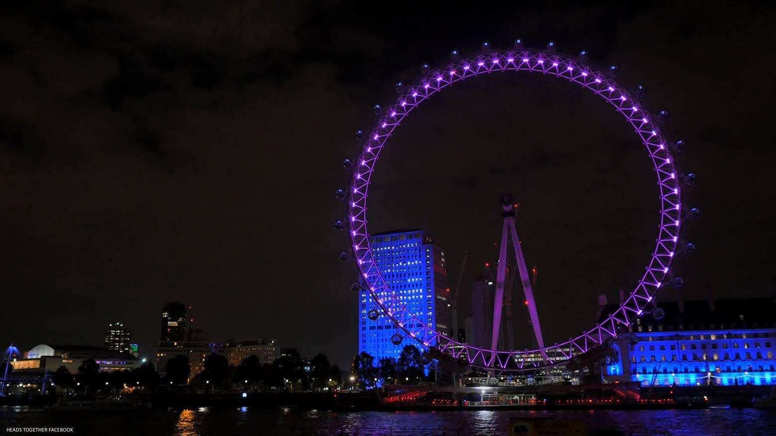The London Eye Lit Up Purple
