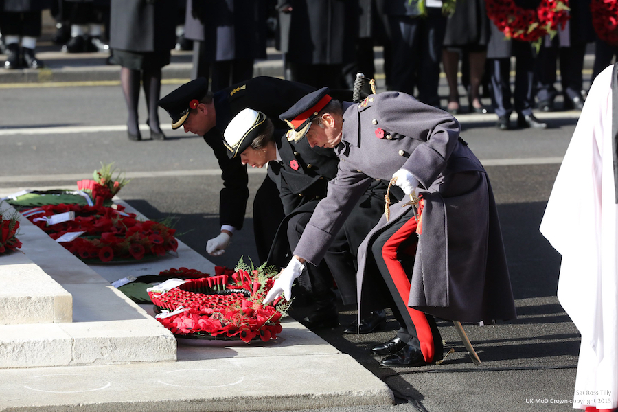 On Sunday 13th November 2016, the nation came together for the annual Service of Remembrance at the Cenotaph in Whitehall. HM The Queen laid a wreath at the monument, followed by other senior members of the Royal Family, thenThe Rt Hon Theresa May MP, Prime Minister, laid a wreath on behalf of the Government followed by other political representatives, commonwealth representatives and Defence Chiefs. Serving detachments from the Armed Forces marched to the Cenotaph in Whitehall where they formed a hollow square for the nation's most solemn annual event. After the ceremony, a march past the Cenotaph took place involving veterans and members of civilian associations. This year HRH The Prince of Wales took the Salute at Horse Guards Parade. Accompanying him was his Equerry, Captain Matthew Wright. Also in attendance, the Secretary of State for Defence, the Rt Hon Sir Michael Fallon MP and Air Marshal David Walker CB CBE AFC MA RAF (Retired), the National President of the Royal British Legion.