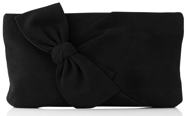 LK Bennett Fay Clutch in Black Suede with Bow