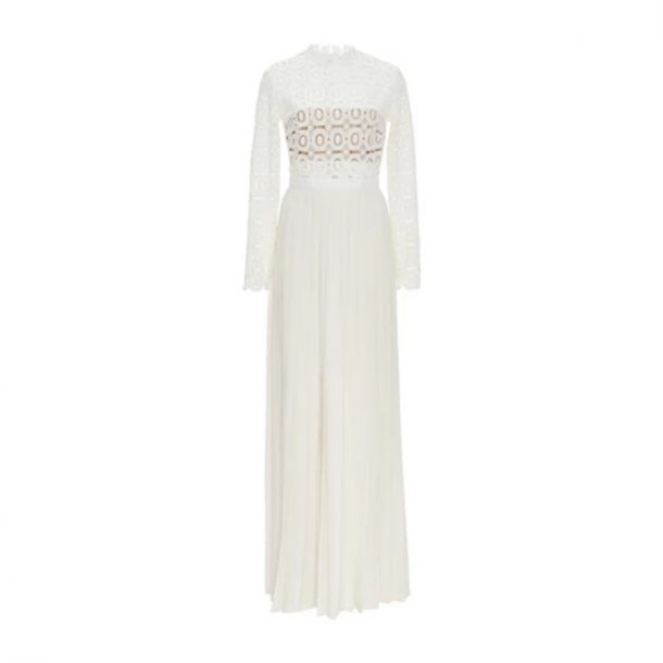 Kate Middleton's Self Portrait Pleated/Crochet Maxi Dress in White