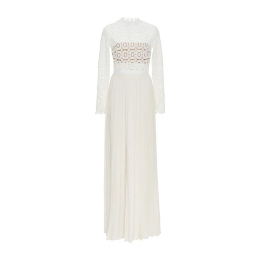 Self Portrait white pleated crochet maxi dress as worn by Kate Middleton