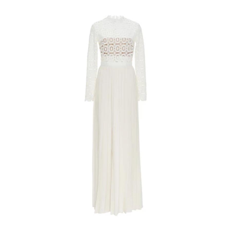 Kate Middleton's Self Portrait Pleated/Crochet Maxi Dress in White