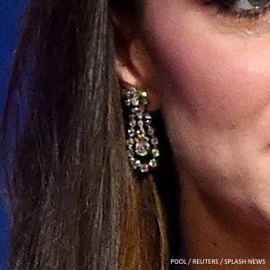 Kate Middleton wearing the Queens earrings