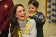 Kate Middleton wearing the Iris & Ink Grace Turtleneck Sweater in Grey