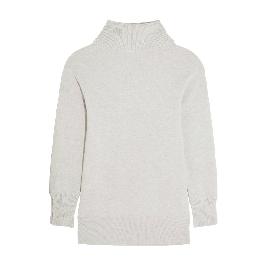 Iris & Ink Grey Cashmere Turtleneck Sweater