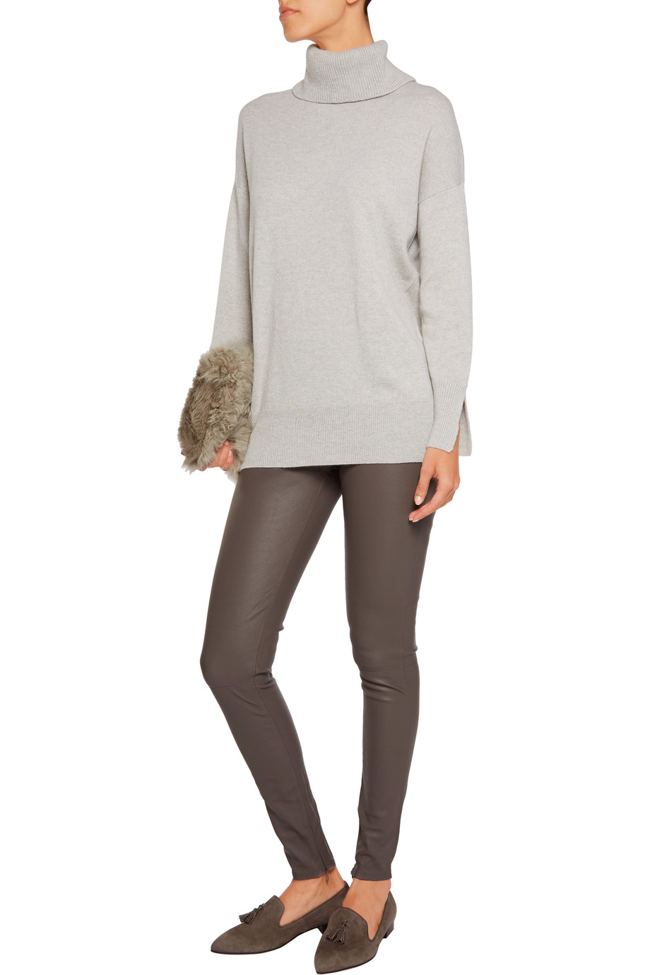 The Iris & Ink Grace Turtleneck Sweater in Grey